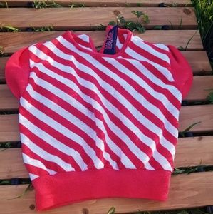 Vintage 70's 80's Red & White Knit Girl's Top
